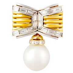 Ella Gafter Diamond and South Sea Pearl Bow Brooch