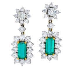 Retro 8.96 Carat Colombian Emerald Diamond Platinum-Topped 18 Karat Earrings