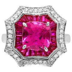1.90 Carat Pink Tourmaline, Ruby and Diamond 14 Karat White Gold Cocktail Ring