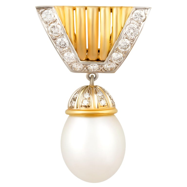 Ella Gafter Diamond and South Sea Pearl Brooch For Sale