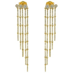 14 Karat Yellow Gold Diamond 1.18 Carat Fringe Drop Earrings