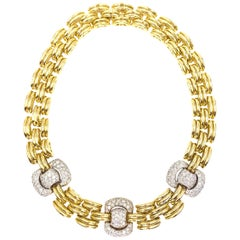 18 Karat Chunky Linked Collar Diamond Necklace