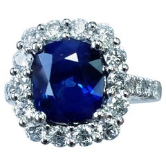 Platinum Cushion Cut Blue Sapphire and Diamond Ring