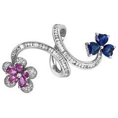 18 Karat White Gold Blue/Pink Sapphire and Diamond Ring