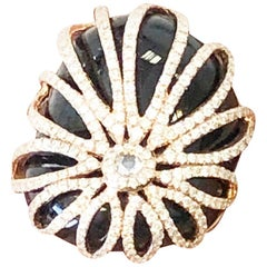 White Diamond and Onyx Fashion Ring in 18 Karat Rose Gold