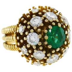 Ruser Emerald Diamond Yellow Gold Ring 1960s