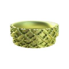 18 Karat Green Gold Wedding Ring Set