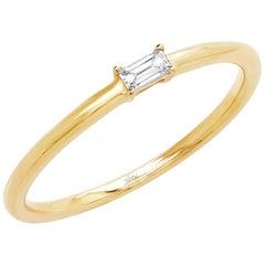 14 Karat Yellow Gold Baguette Diamond 0.07 Carat Ring