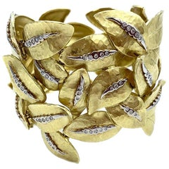 Vendorafa 18 Karat Handwrought Wide Gold and Diamond Leaf Bracelet