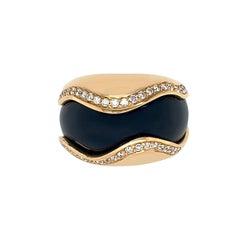 18 Karat Yellow Gold Onyx and Diamond Ring
