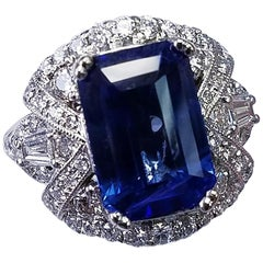 GIA Certified 18 Karat White Gold Emerald Cut Blue Sapphire and Diamond Ring