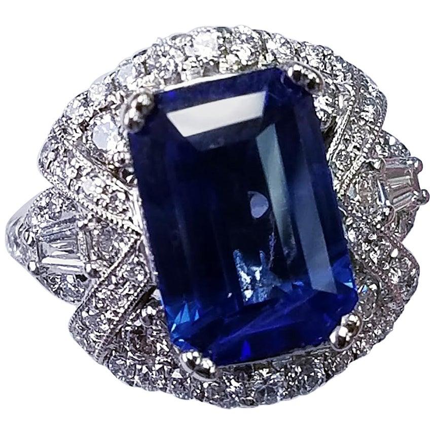 GIA Certified 18 Karat White Gold Emerald Cut Blue Sapphire and Diamond Ring