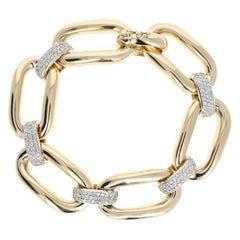 Vintage 14 Karat Yellow Gold 1 Carat Diamond Curb Link Bracelet