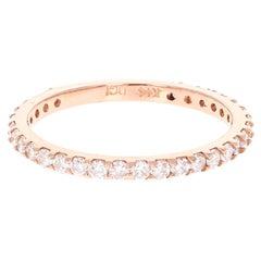 0.66 Carat Round Cut Diamond Band 14 Karat Rose Gold