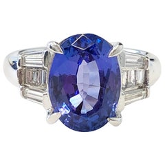 Tanzanite Oval and Diamond Baguette Cocktail Ring in Platinum