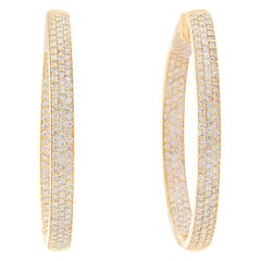 18 Karat Yellow Gold Inside Out Pave Diamond Hoops