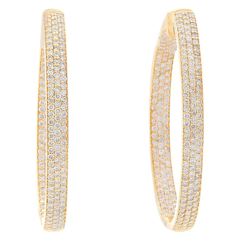 18 Karat Yellow Gold Inside Out Pave Diamond Hoops For Sale