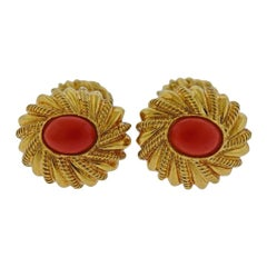 Tiffany & Co. Schlumberger Coral Gold Cufflinks