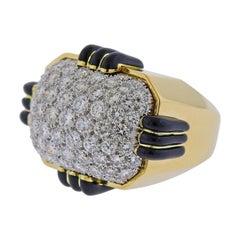David Webb Diamond Enamel Gold Platinum Ring