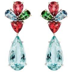 Aquamarine Pink Tourmaline Gold Earrings