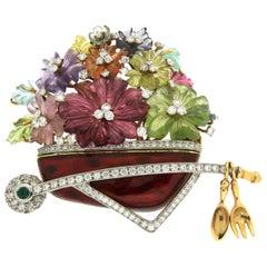 Valentin Magro Carved Flower Gemstone Wheelbarrow Brooch