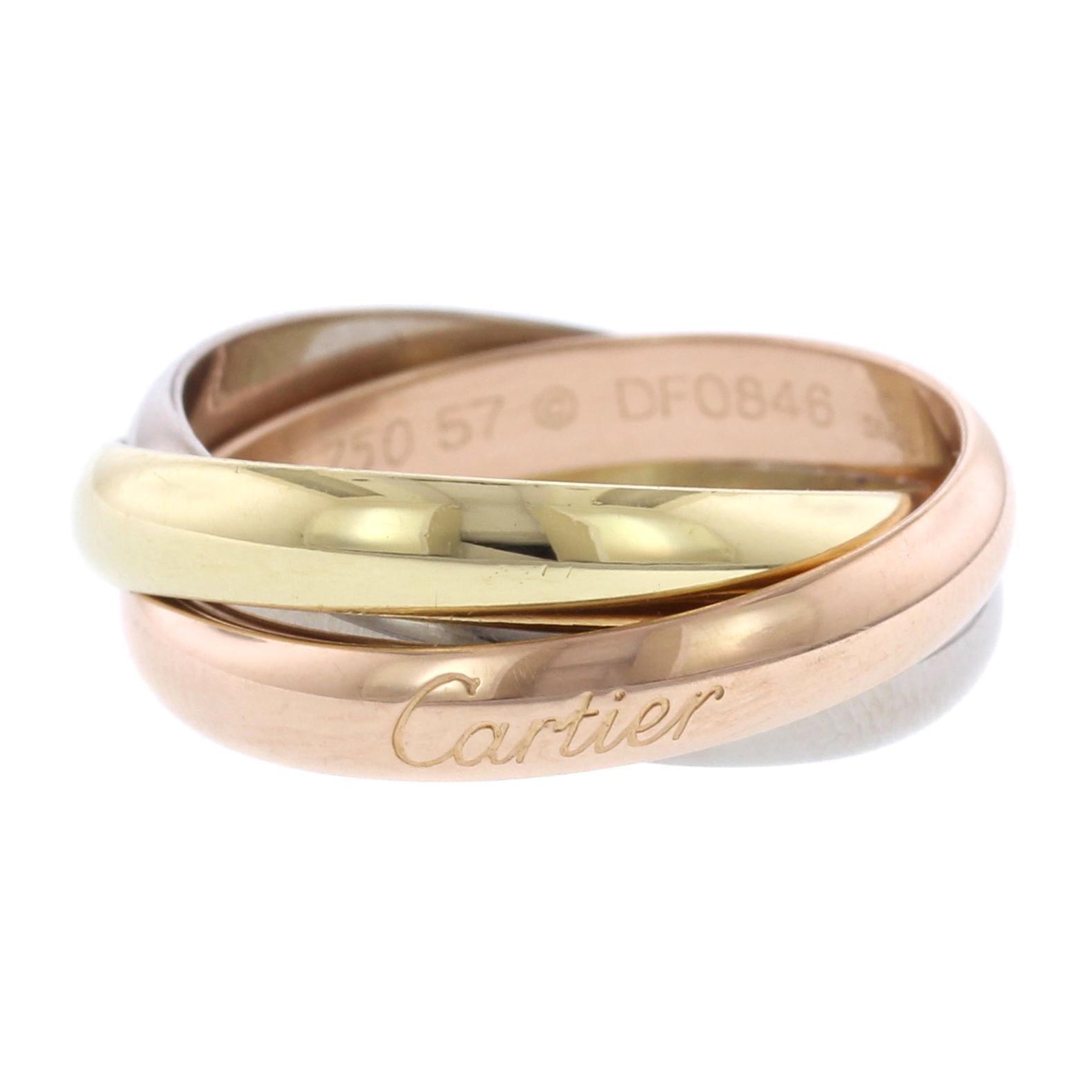 ed480cb3b9e7d Cartier 18 Karat Tricolor Gold Trinity Rolling Ring