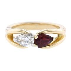 Hammerman Bros. 18 Karat Yellow Gold, Platinum Ruby and Diamond Ring