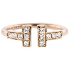 Tiffany & Co. 18 Karat Rose Gold Diamond T Wire Ring