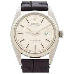 Vintage Rolex Datejust 14 Karat White Gold and Stainless Steel Watch, 1977