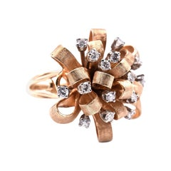 14 Karat Yellow Gold Vintage Diamond Ribbon Flower Ring