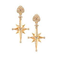 18 Karat Rose Gold and 1.29 Carat White Diamonds Mini Star Earrings, Alessa