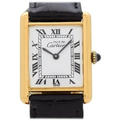 Cartier Tank Must de Men's Sized 18 Karat Yellow Gold Plated Watch, 1990s