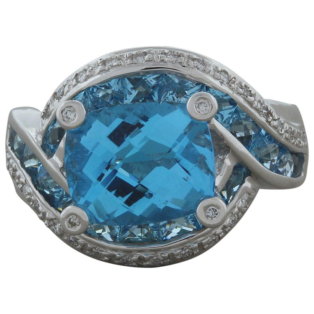 Bellarri Blue Topaz Diamond Gold Ring