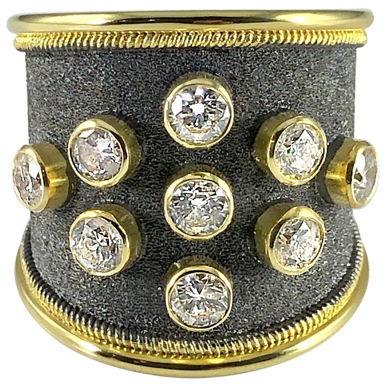 Georgios Collections 18 Karat Yellow Black Gold Diamond Rhodium Thick Band Ring