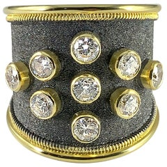 Georgios Collections 18 Karat Yellow Black Gold Diamond Rhodium Thick Band Ring