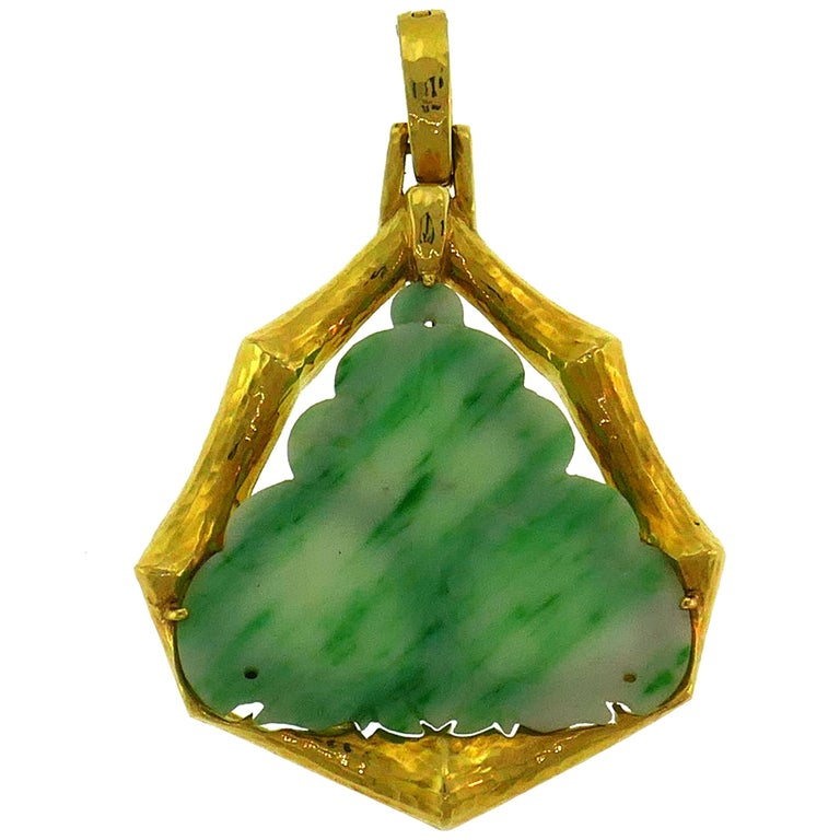 David Webb Jade Yellow Gold Pendant