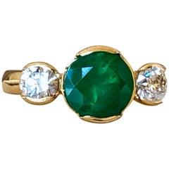Round Colombian Emerald Diamond Engagement Three-Stone Ring 18 Karat