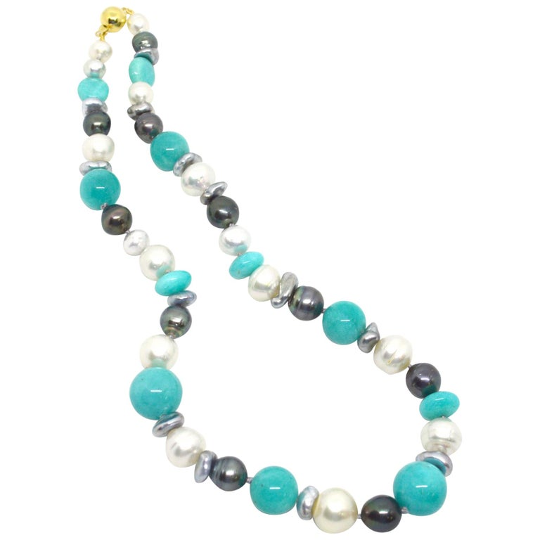 Decadent Jewels Amazonite Australian South Sea Tahitian Pearl 14k Gold Necklace For Sale