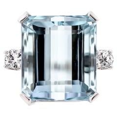 Breathtaking Large 14 Karat Aquamarine and Diamond Cocktail Ring