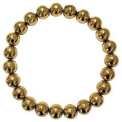 Striking Vintage, 18 Karat Yellow Gold Ball Necklace
