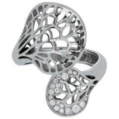 Diamonds 18 Karat White Gold Tree Mushroom Ring