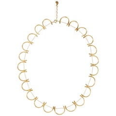 Sterling Silver Gold-Plated Round Petal Shaped Motif Greek Chain Necklace