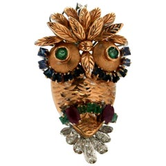 Owl 18 Karat Yellow and White Gold Brooch