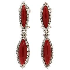 Sardinian Coral 18 Karat White Gold Diamonds Drop Earrings