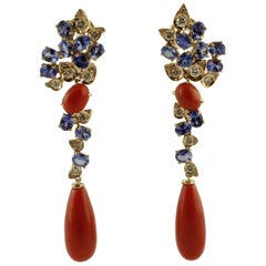 Diamonds, Tanzanites, Red Coral, 14 Karat Rose Gold Earrings