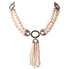 White Diamonds, Tsavorites, Angel Skin Pink Coral 14 Karat Rose Gold Necklace