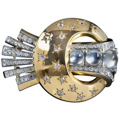 Antique Victorian Moonstone Diamond Halleys Comet Brooch 18 Carat Gold