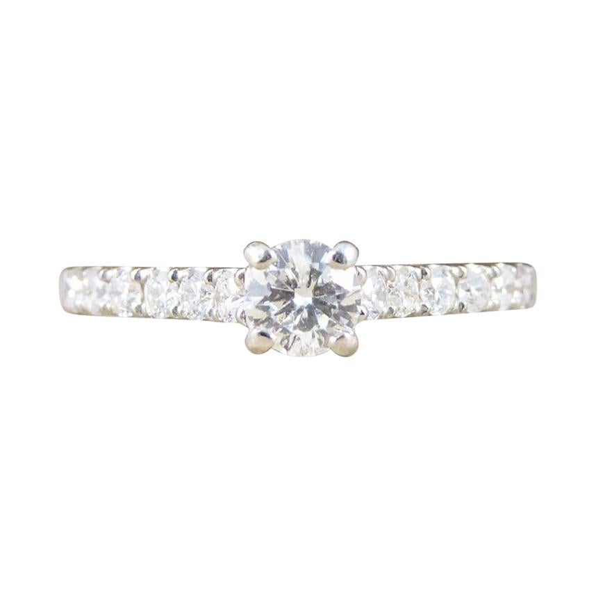 Contemporary Diamond Ring with Diamond Set Shoulders in 18 Carat White Gold