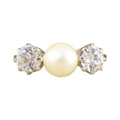 Vintage Cultured Pearl and Diamond Three-Stone ring in 18 Carat White Gold
