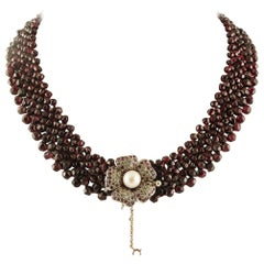 Garnet Multi-Strands Necklace, Clasp with Diamonds, Rubies and Pearl